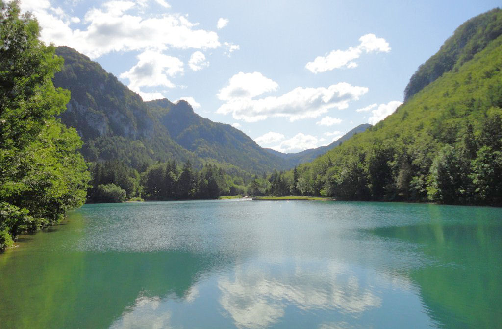 The beautiful Lake Zavrsnica in Gorenjska, Slovenia