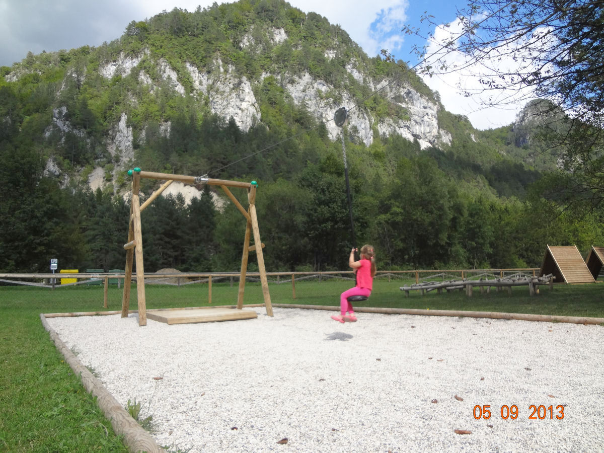 A children's playground in Zavrsnica near Bled