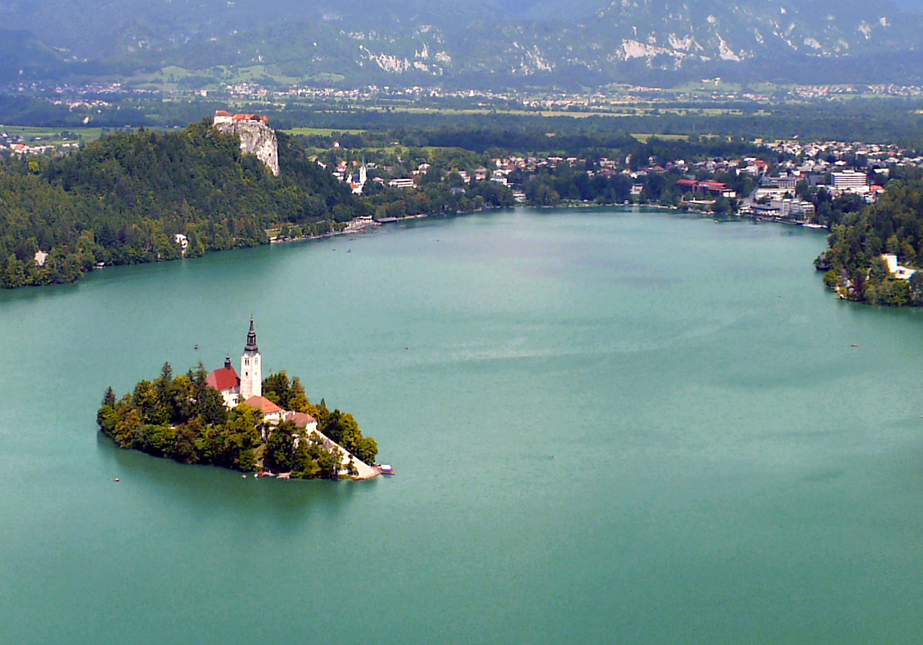 Lake Bled with an island and Bled castle