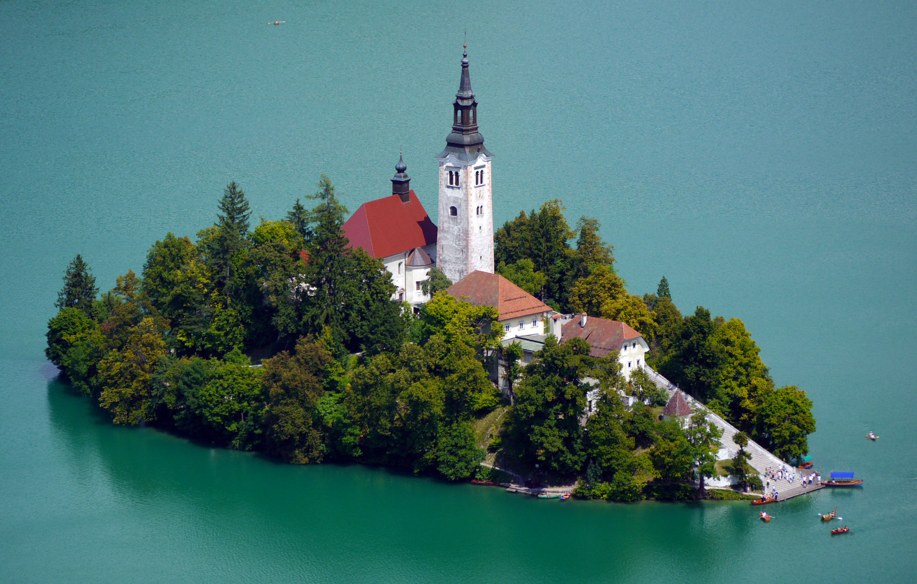 Church On Island In The Middle Of Bled Lake. Slovenia Stock Photo ...