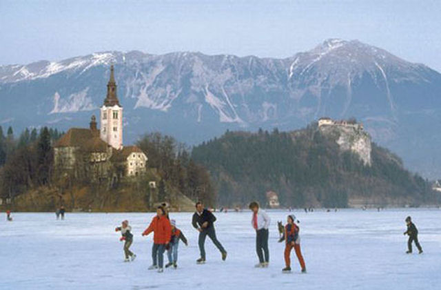 Frozen Lake Bled in winter is ideal for ice skating