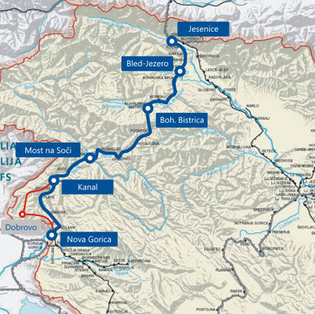 Heritage steam train rides from Jesenice to Nova Gorica on the map