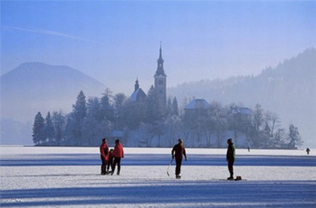 Ice skating on Lake Bled in Slovenia