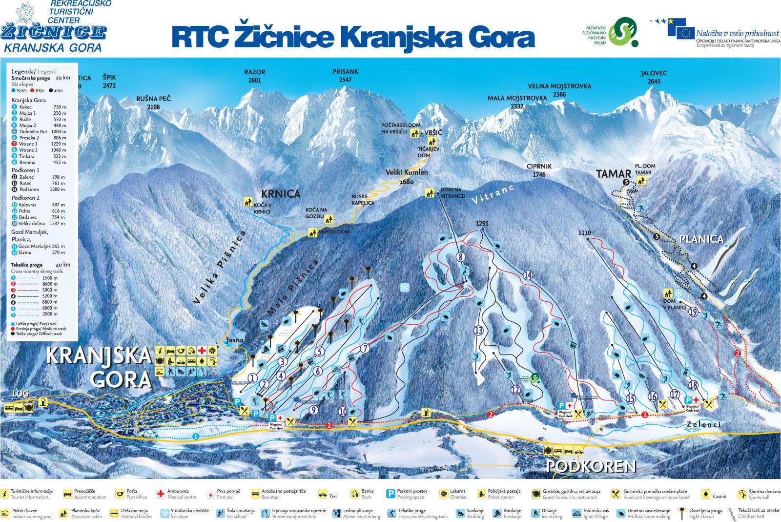 Kranjska Gora ski map