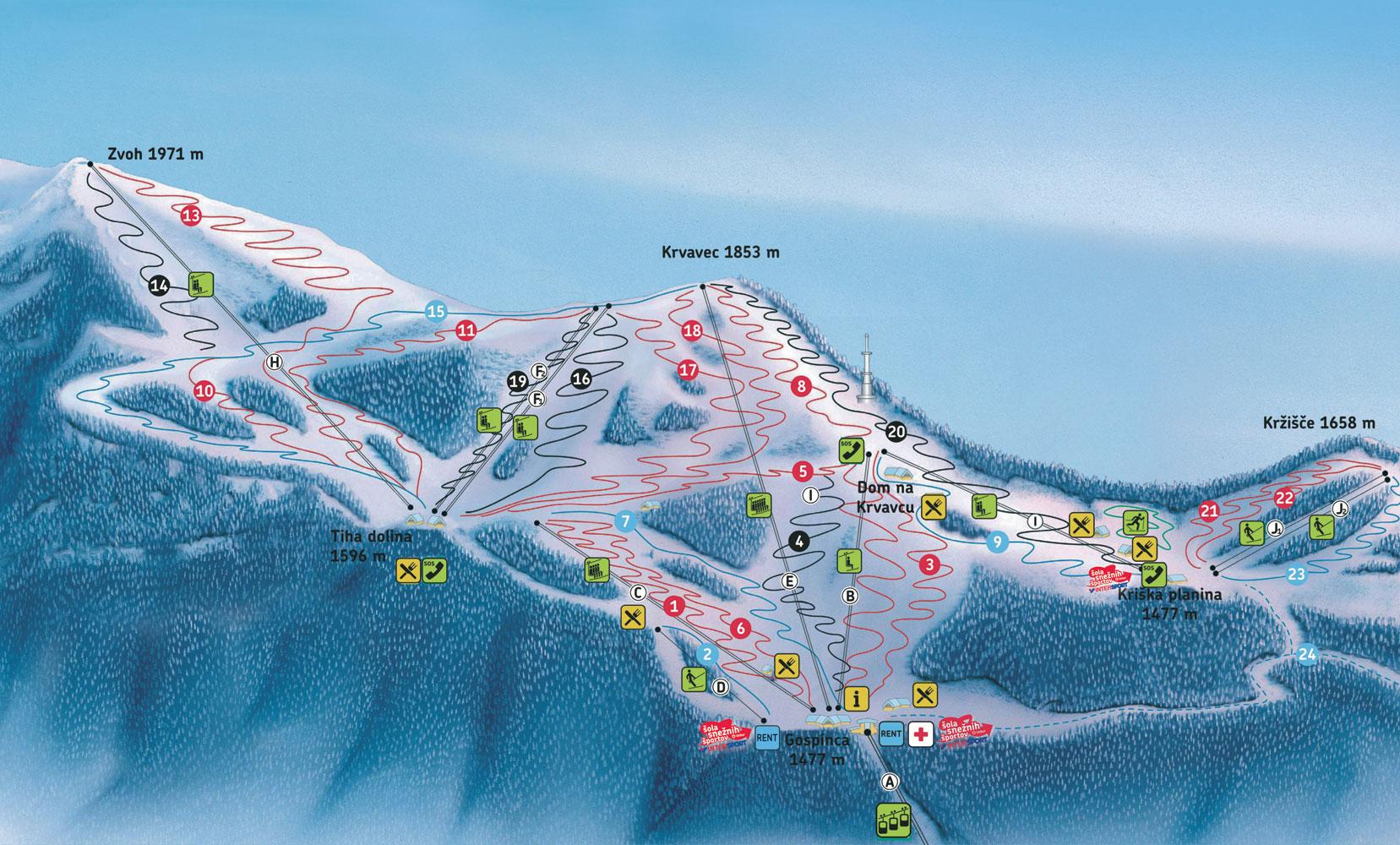 Krvavec ski map