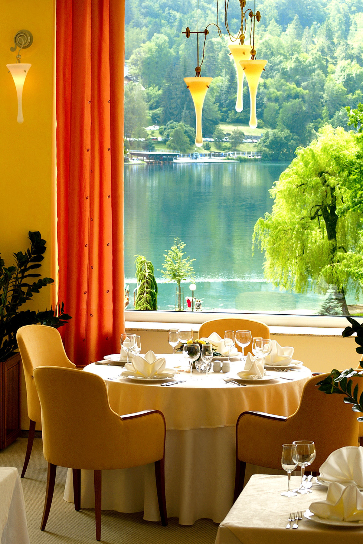 Labod restaurant features a wonderful view across Lake Bled
