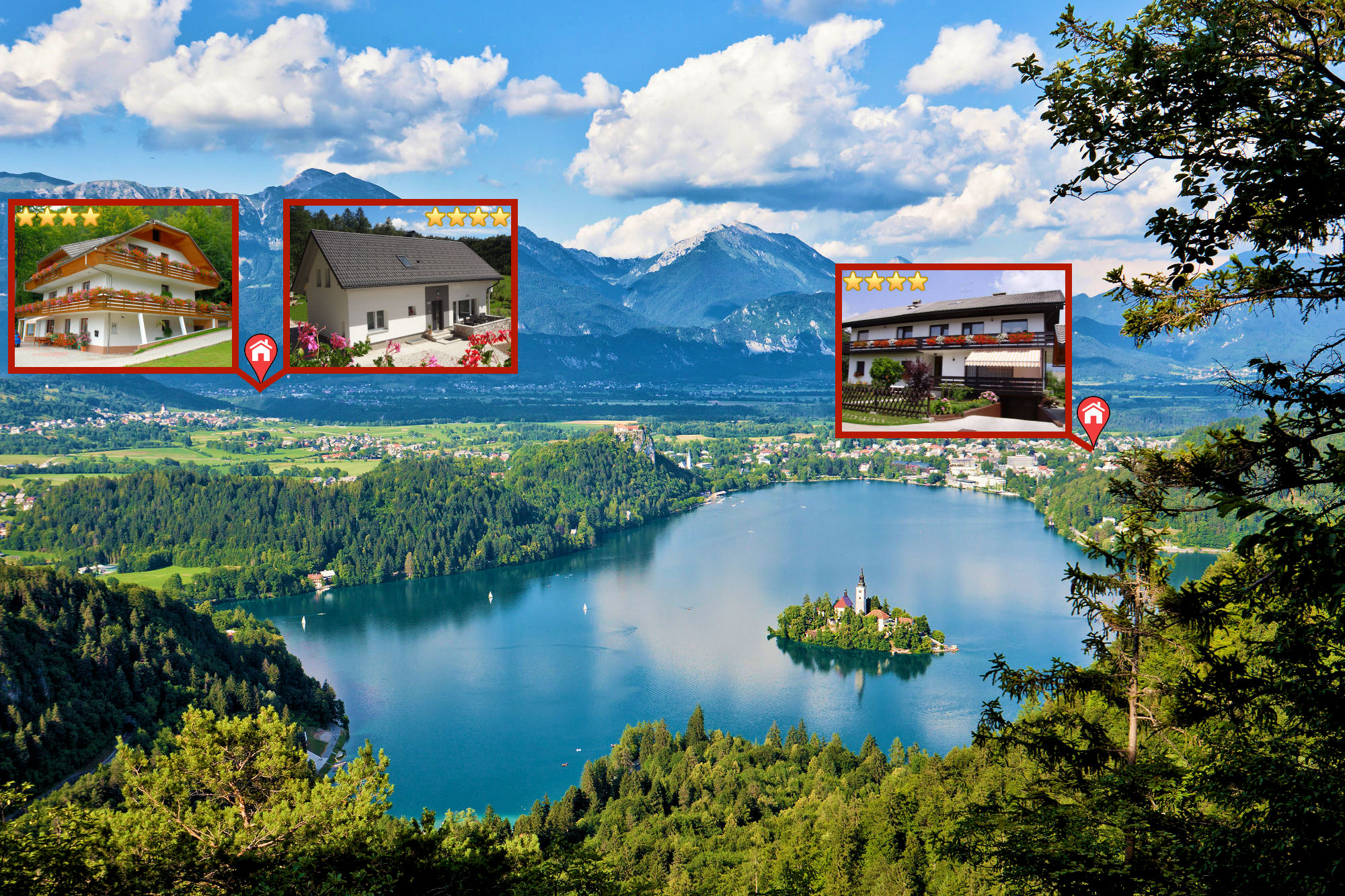 Lake Bled and the location of Apartments Fine Stay in the Lake Bled area in Slovenia