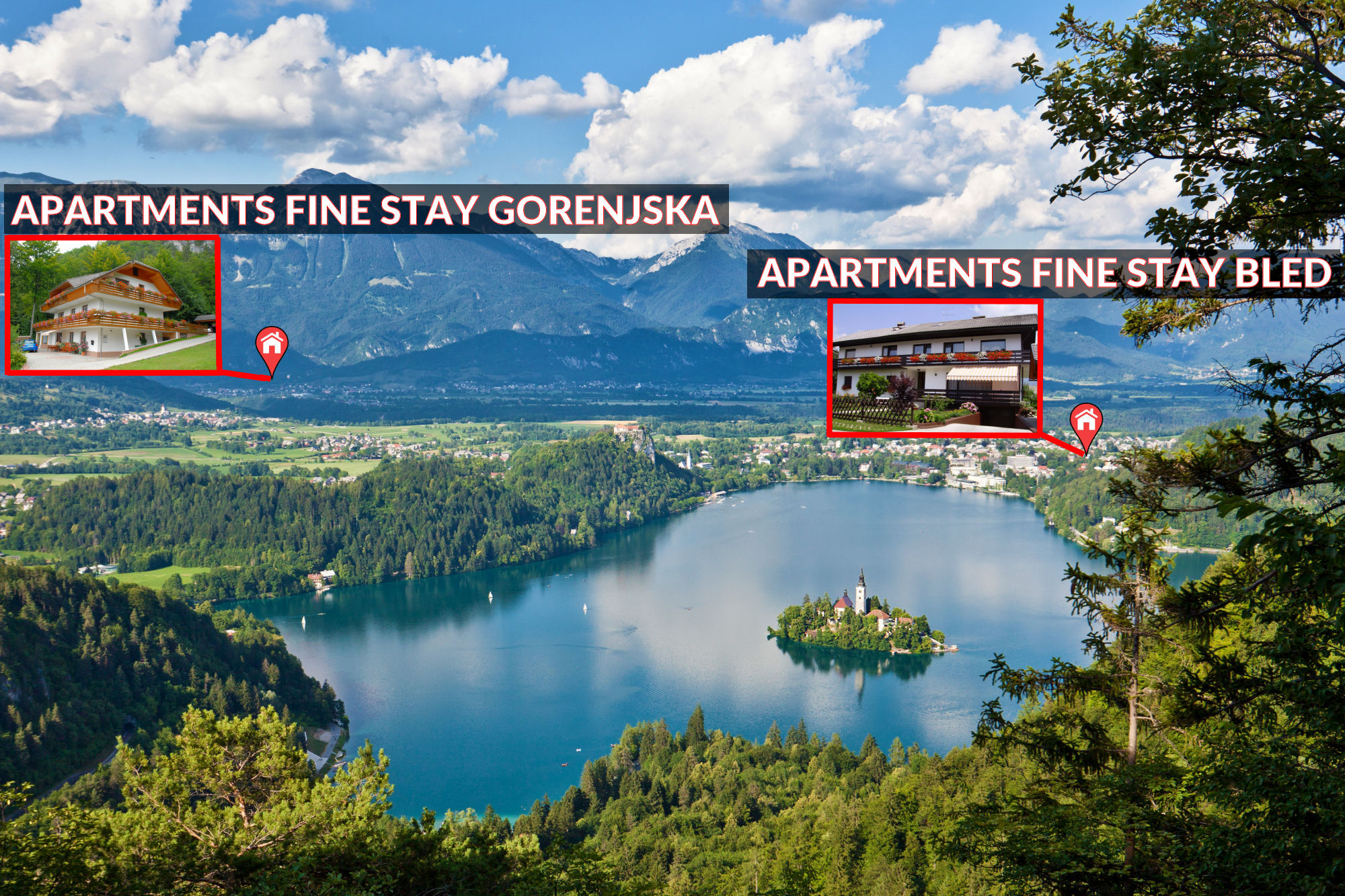 Lake Bled and the location of Apartments Fine Stay Slovenia