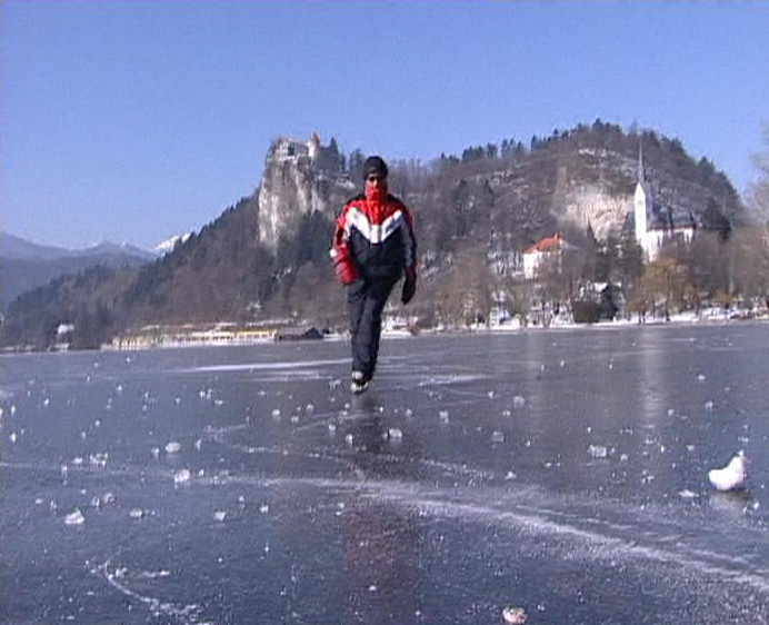 Ice skating on the frozen Lake Bled