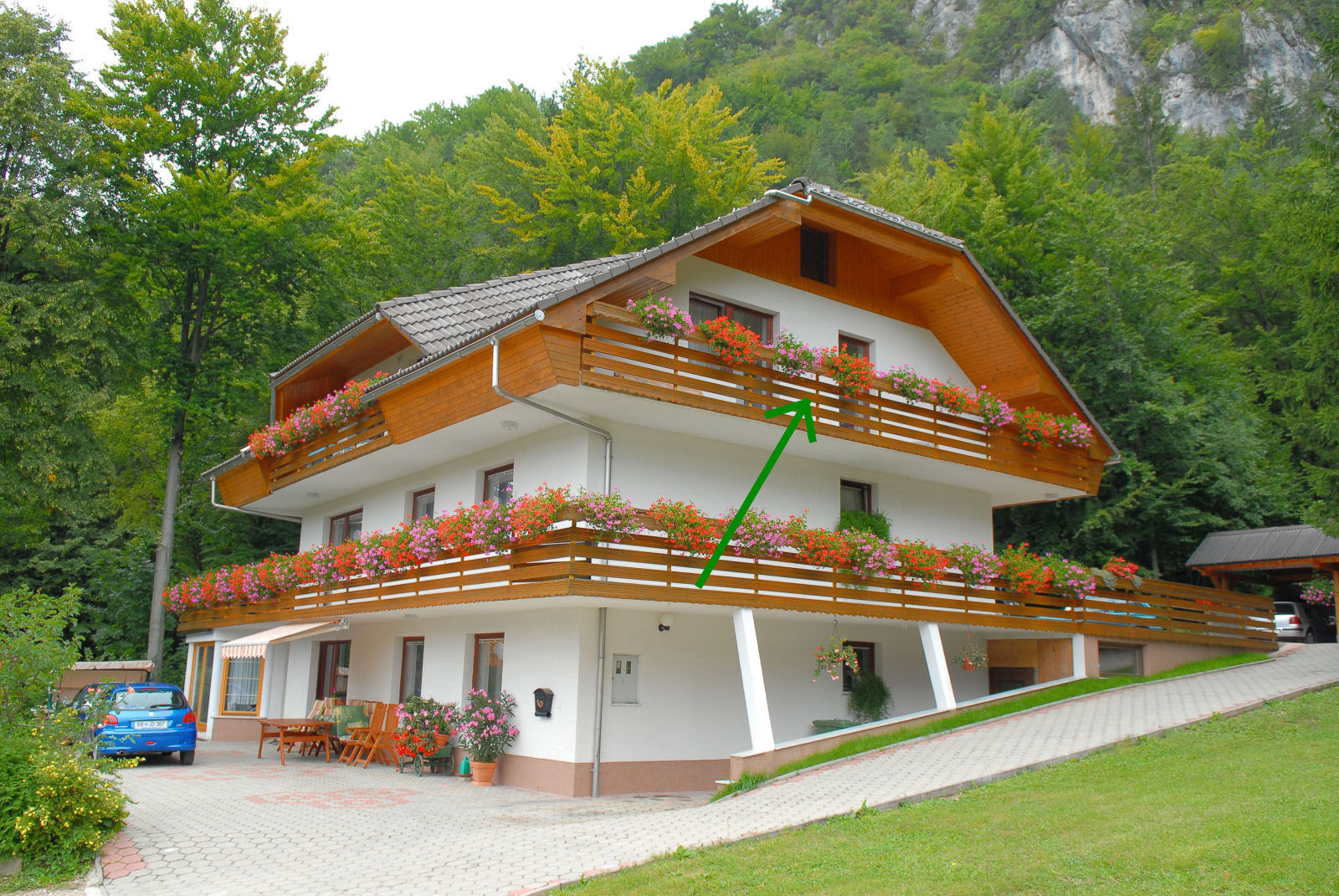 Large apartment with balcony near Bled
