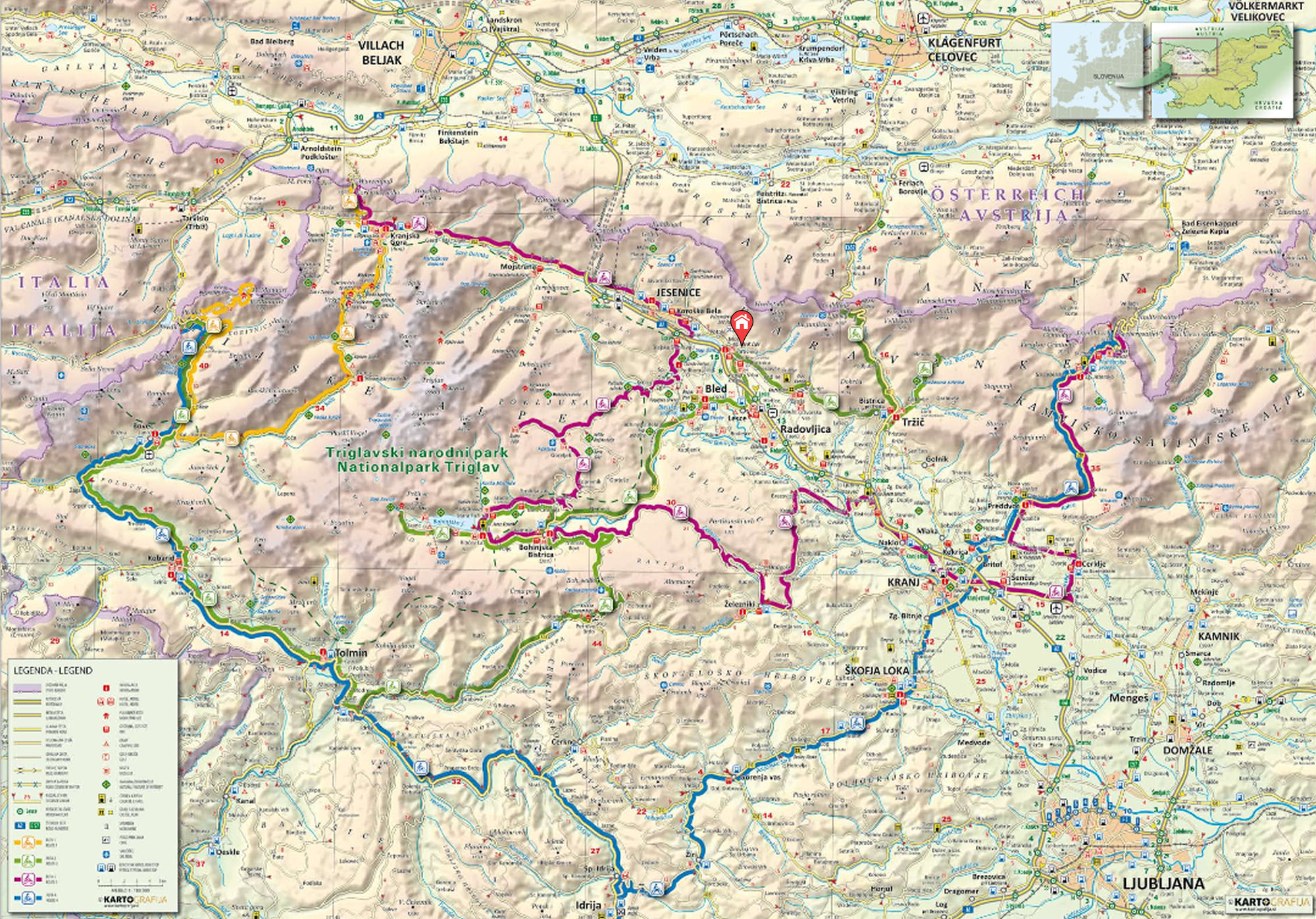 Motorcycling routes in Gorenjska, Slovenia on the map