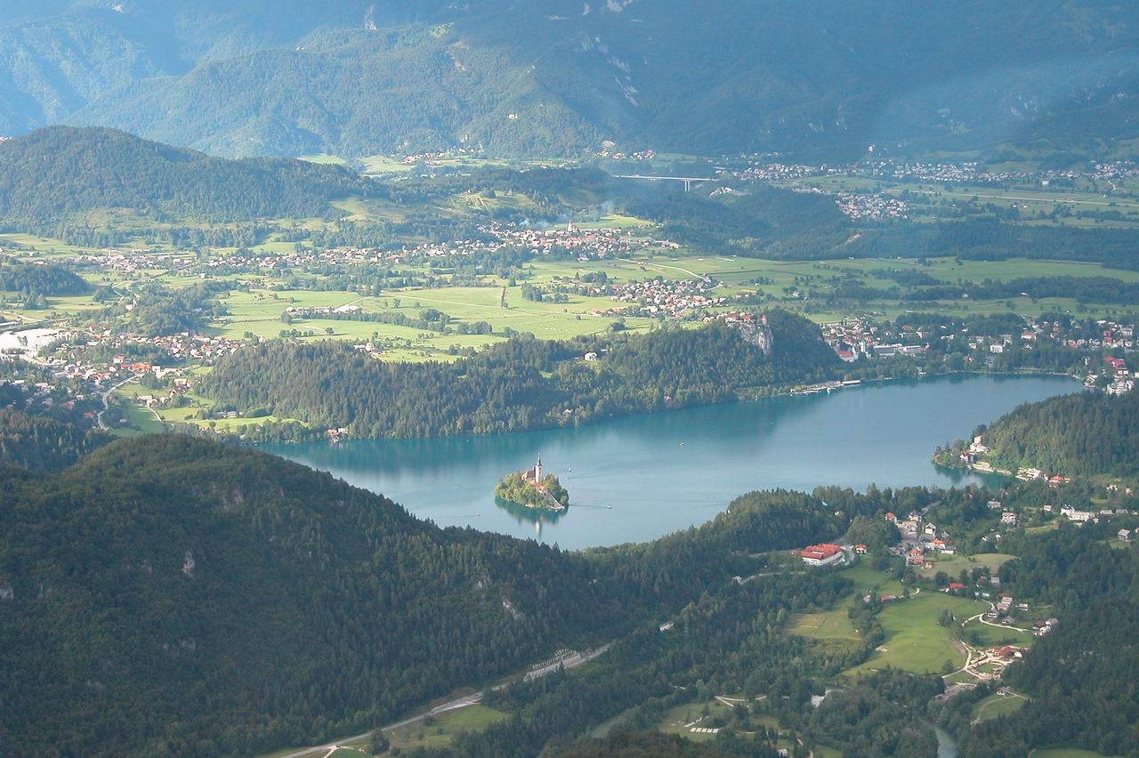 Panoramic flights over Lake Bled in Slovenia