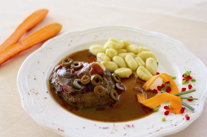 Ramsteak in Teran wine sauce