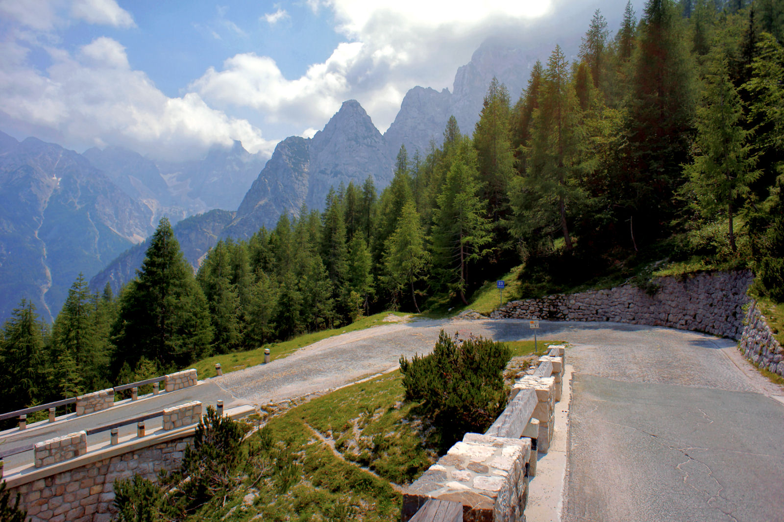 Hairpin turn number 23 on road to Vrsic Pass, Slovenia