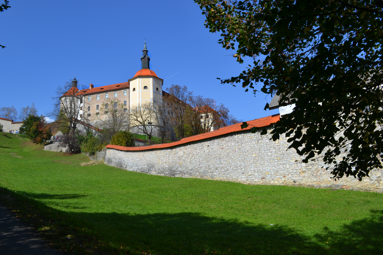 Skofja Loka castle on edge of city walls