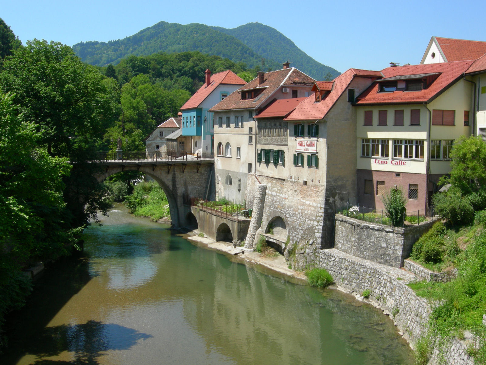 Capuchin bridge across the Sora river in Skofja Loka, Gorenjska, Slovenia