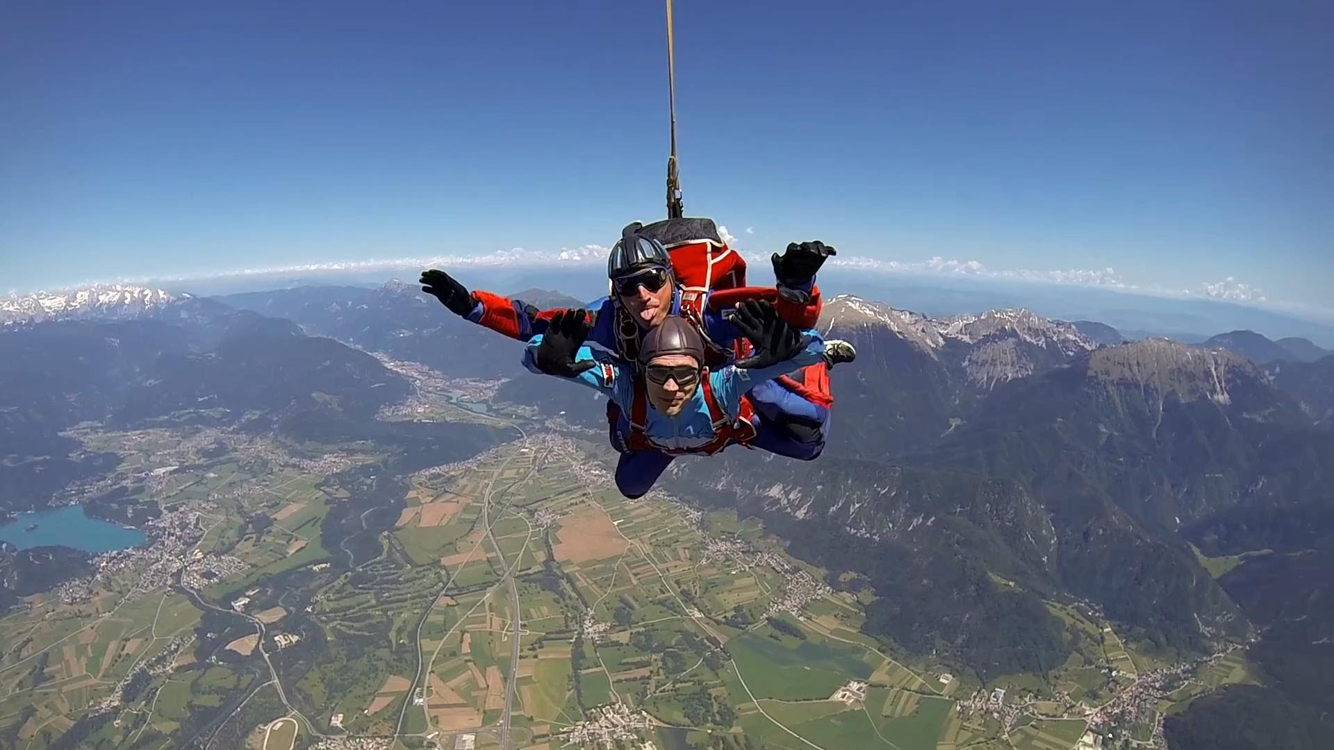 Tandem skydiving near Bled in Slovenia