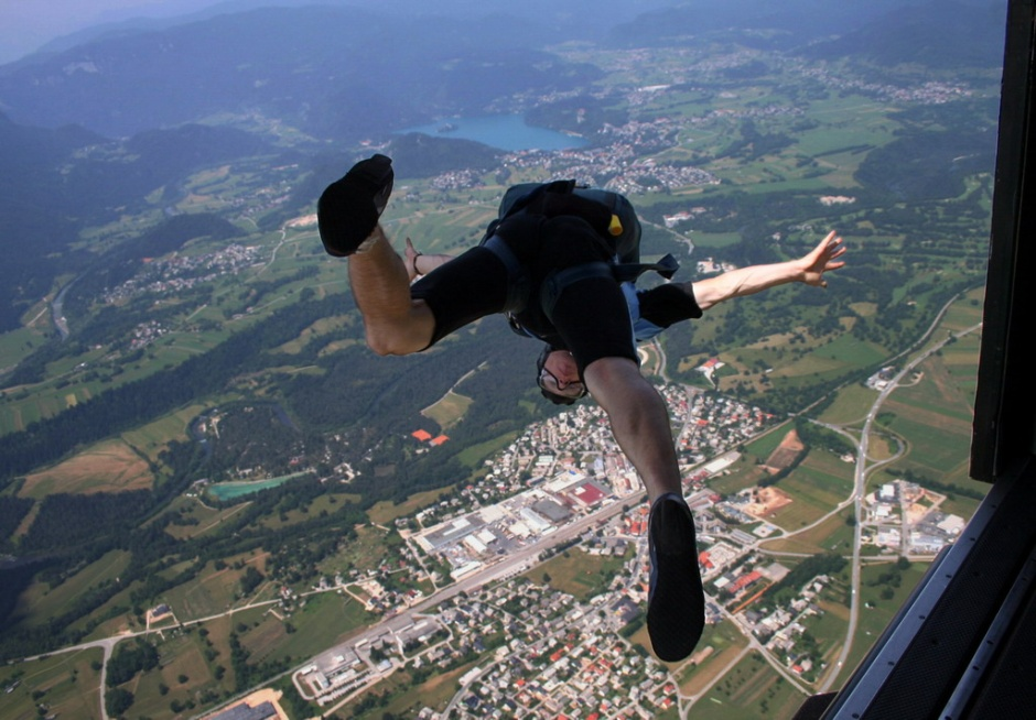 Skydiving near Lake Bled in the Gorenjska region of Slovenia