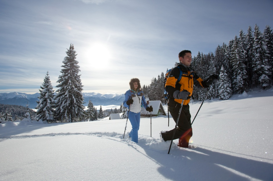 Snowshoeing near Bled in Slovenian Alps in Slovenia