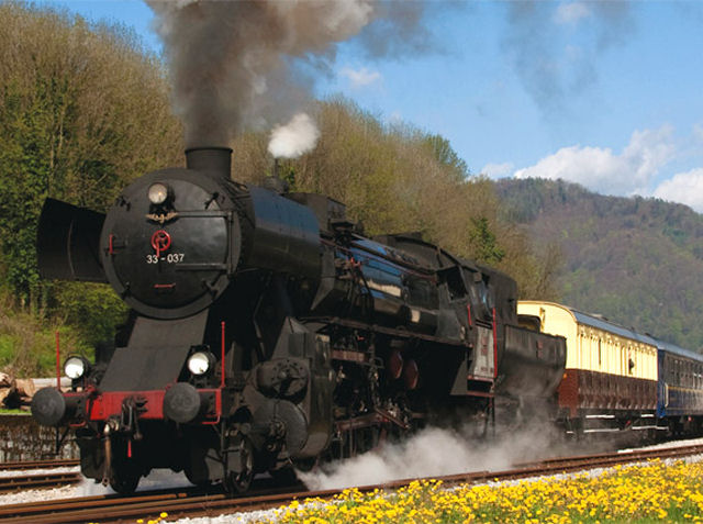 Steam train for tourist trips in Slovenia