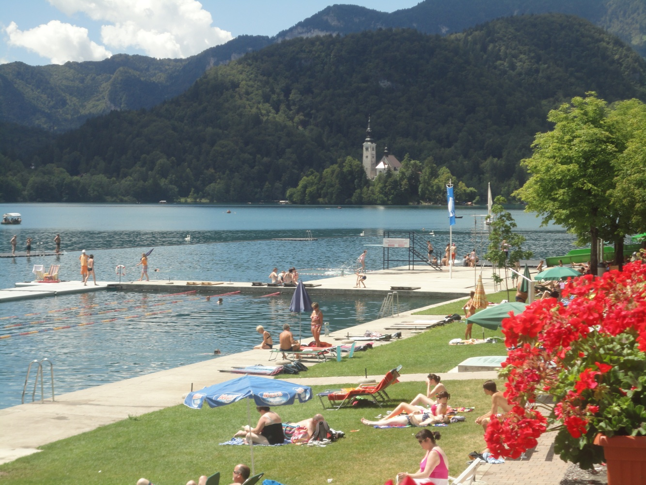 Swimming and bathing in Lake Bled, Slovenia