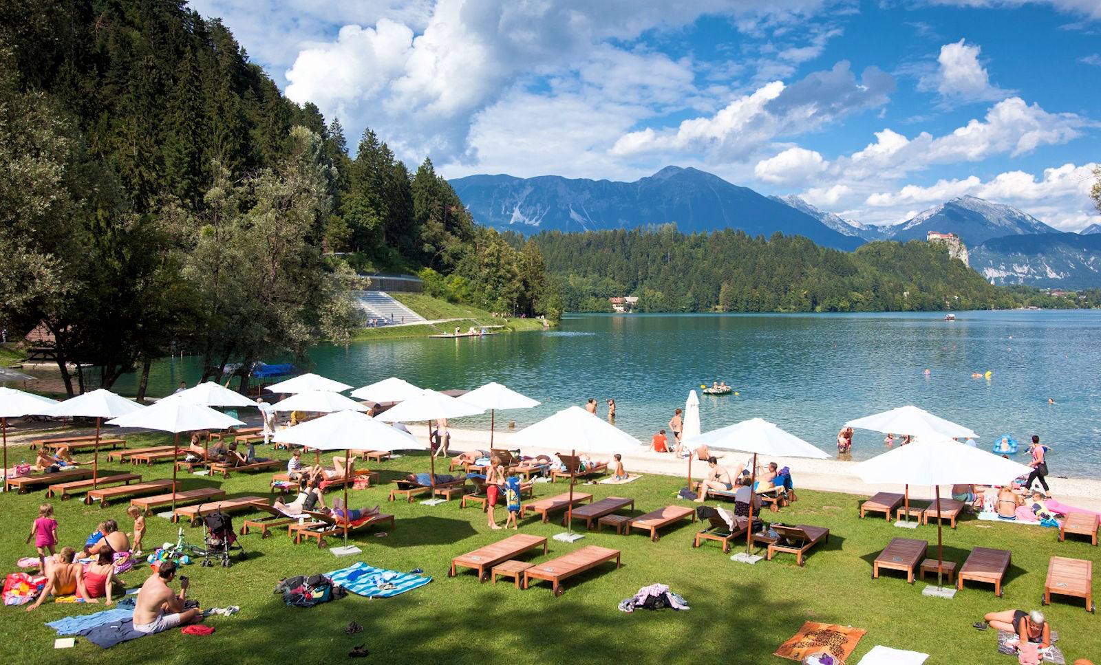 Velika Zaka Bathing Area in Lake Bled, Slovenia