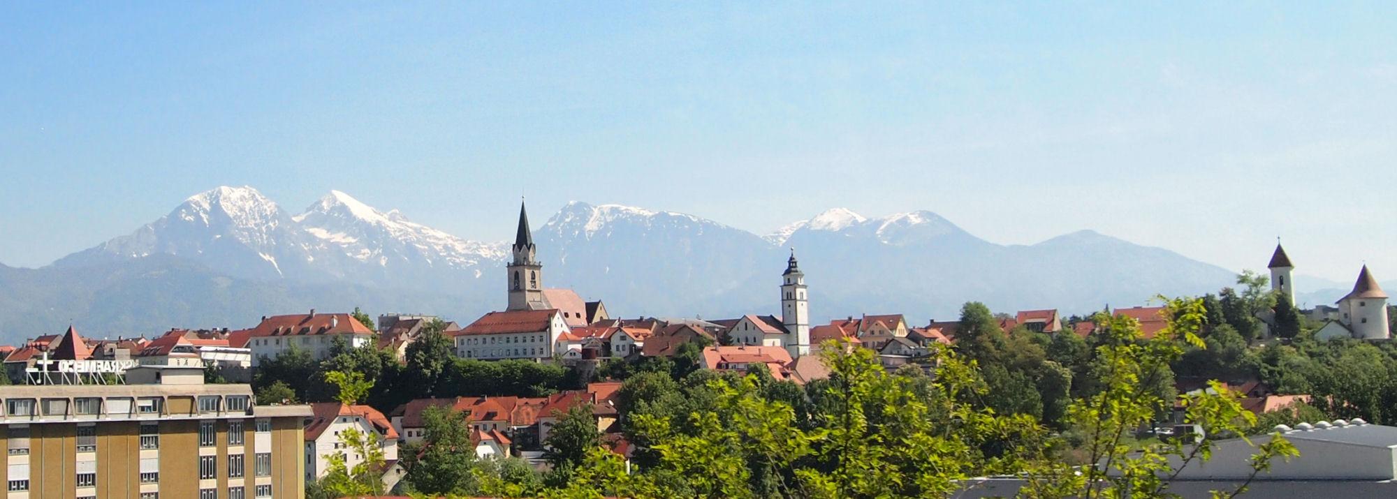 Panoramic view of Kranj, the capital of Gorenjska