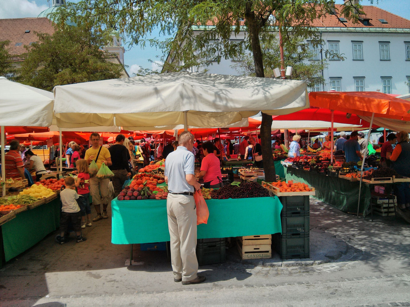 Bustling market in Ljubljana, Slovenia