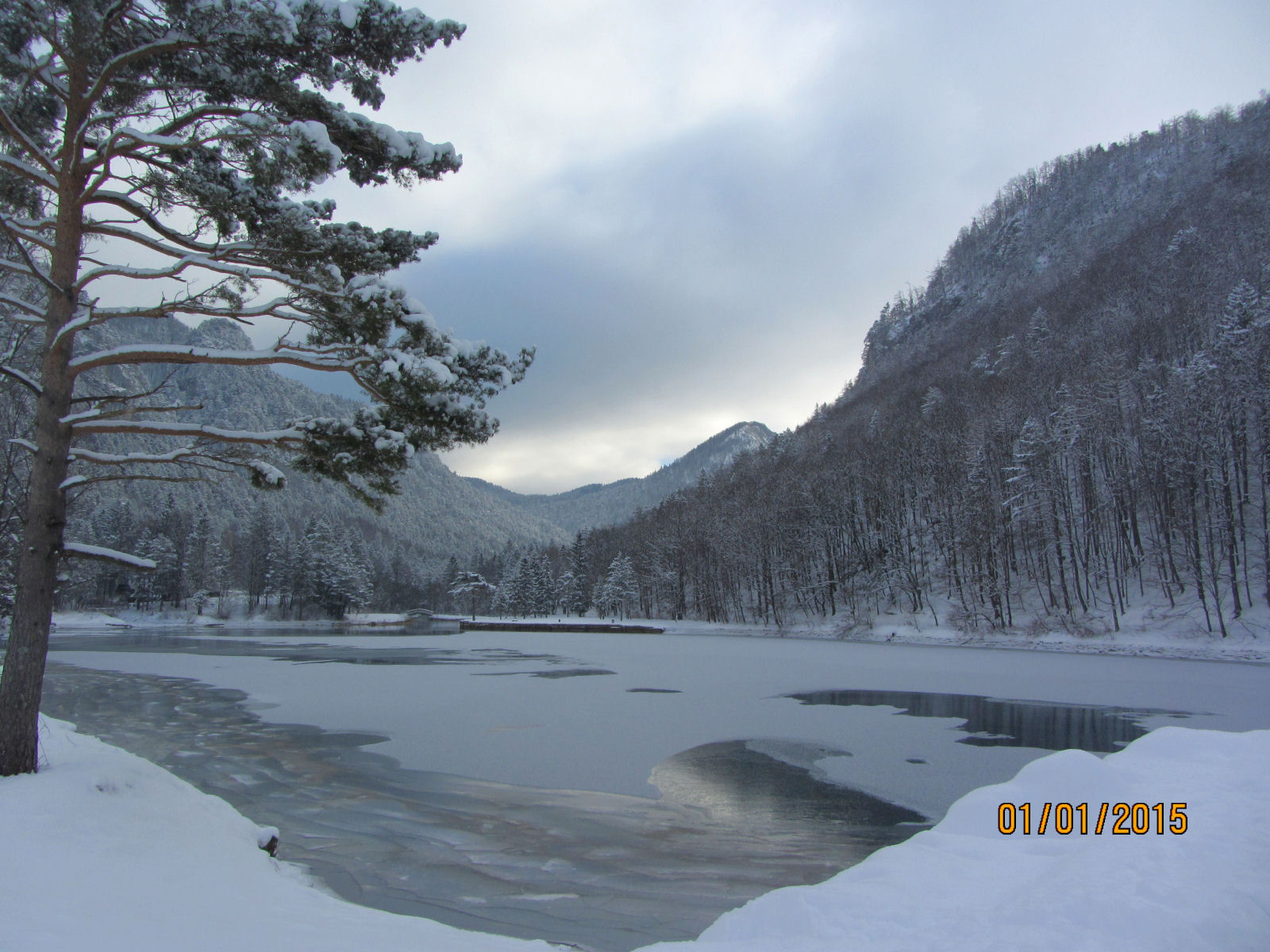 Frozen Zavrsnica reservoir in winter