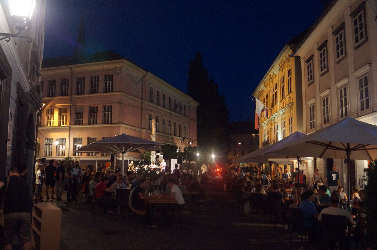 Ljubljana streets at night in summer