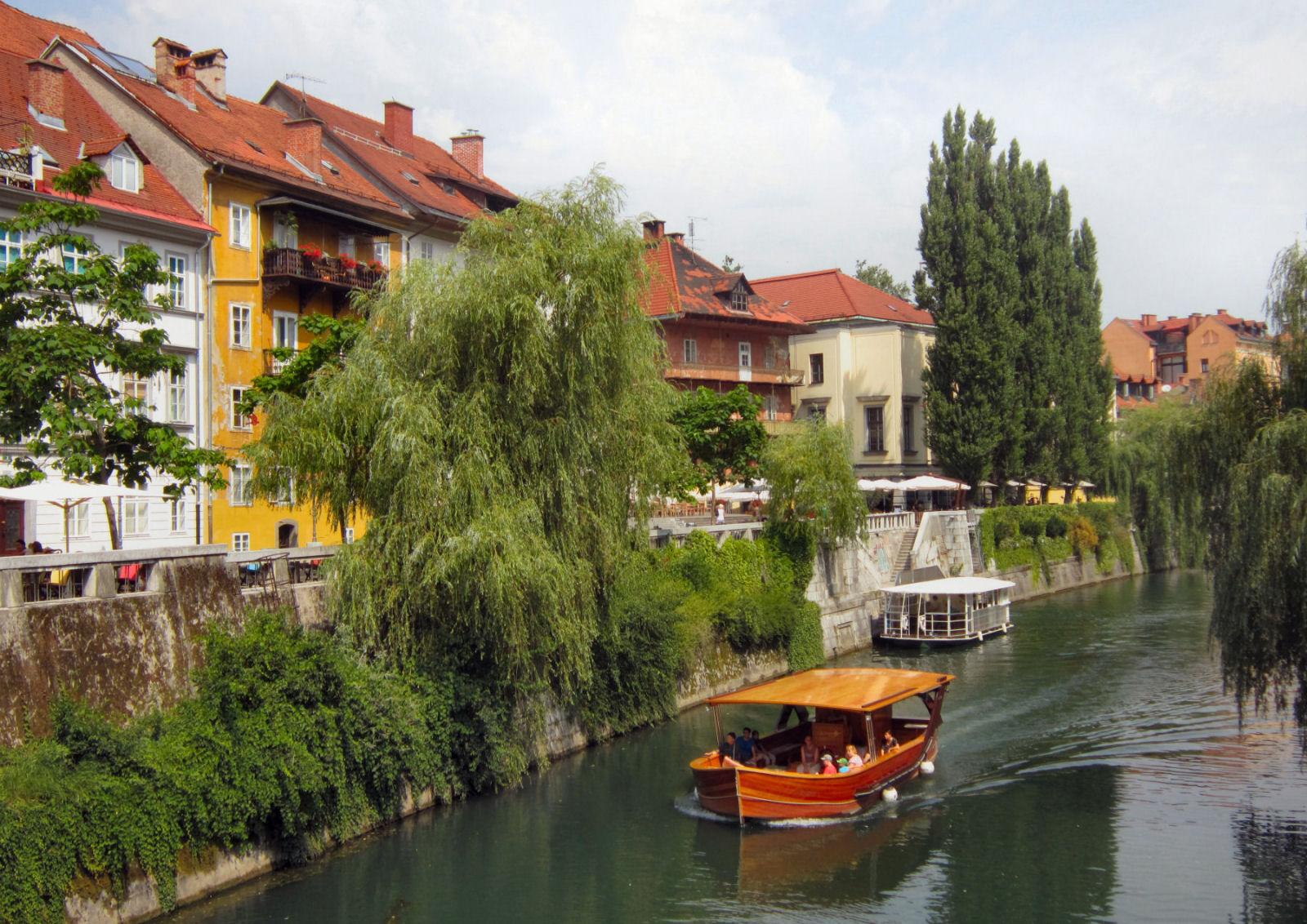 Ljubljanica River Canal tourist boats