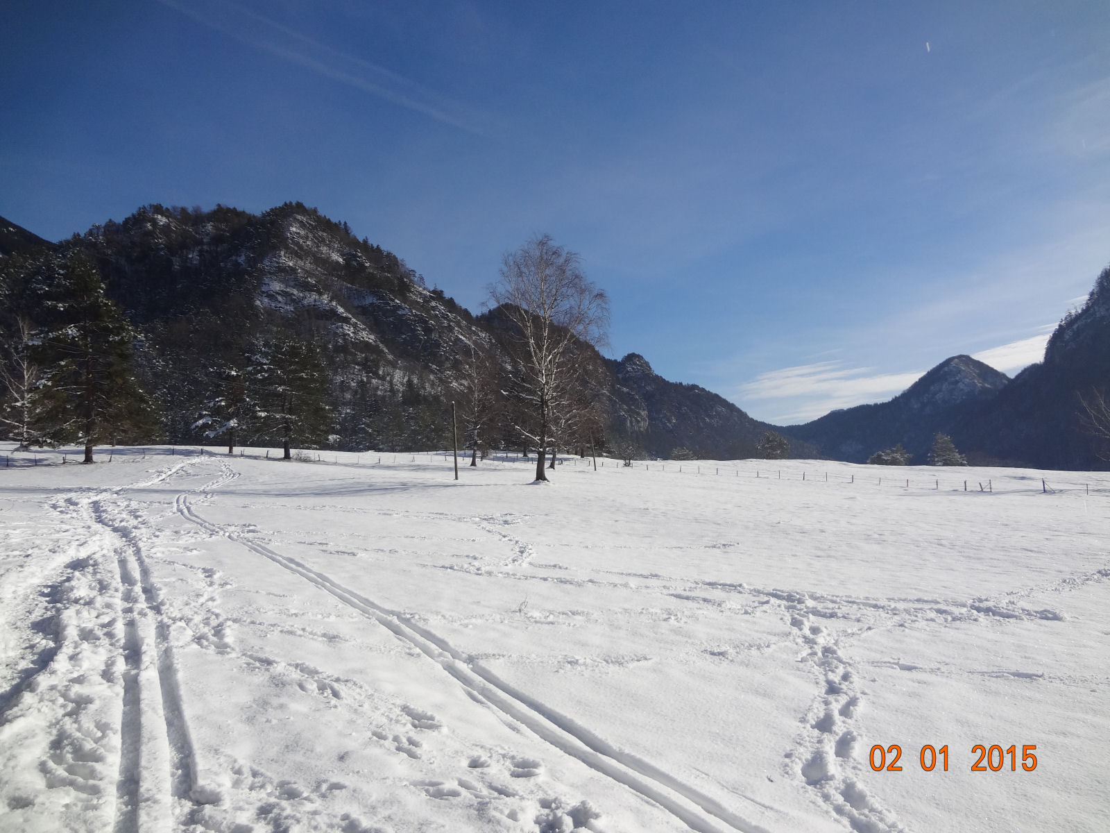 Ski trails in the snow