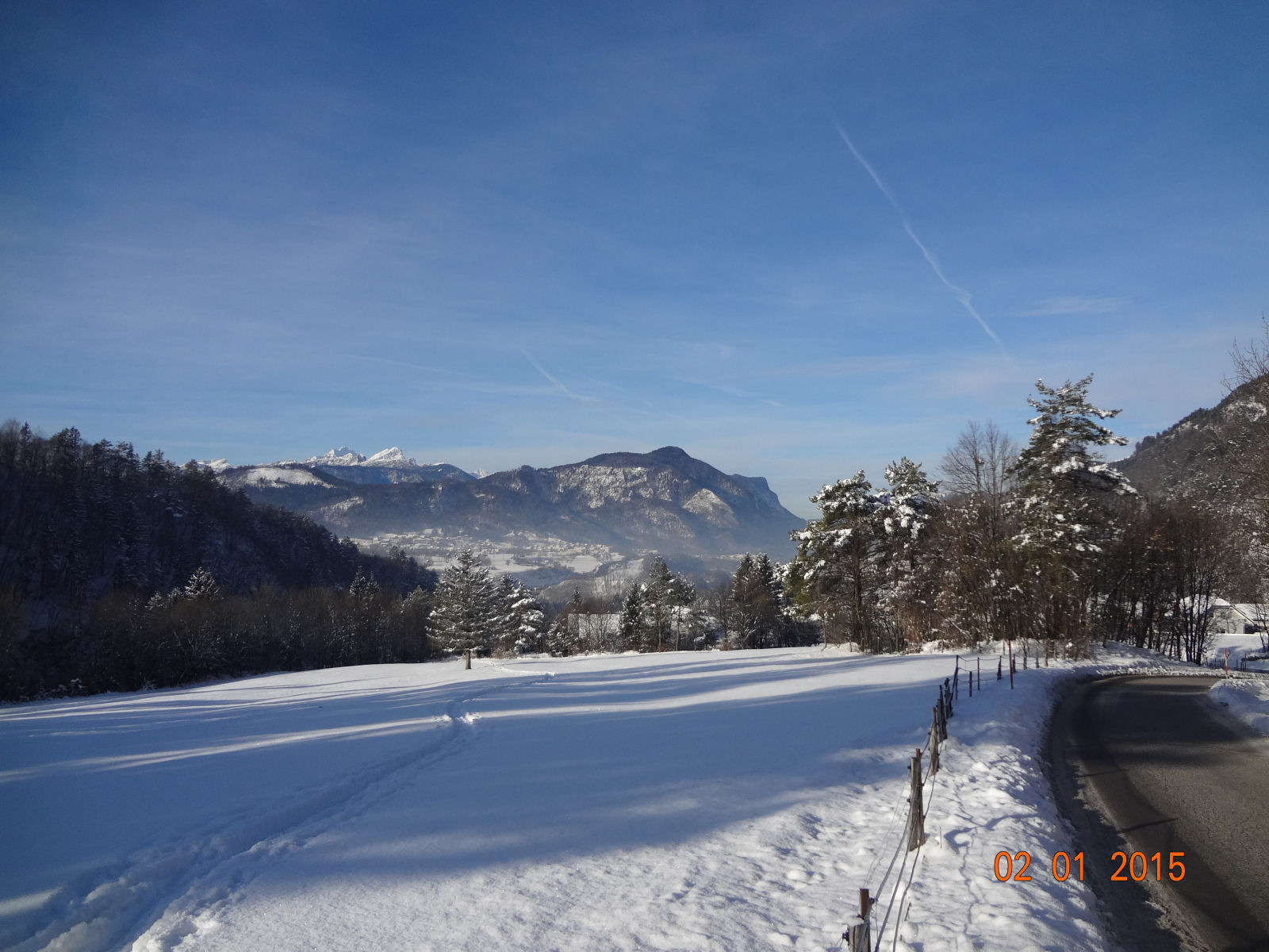Plenty of snow and clear blue sky over Gorenjska, Slovenia