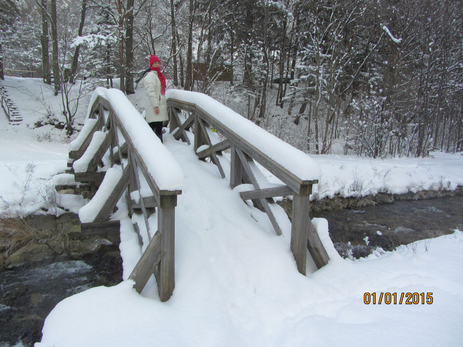 Snow covered bridge across the Zavrsnica stream