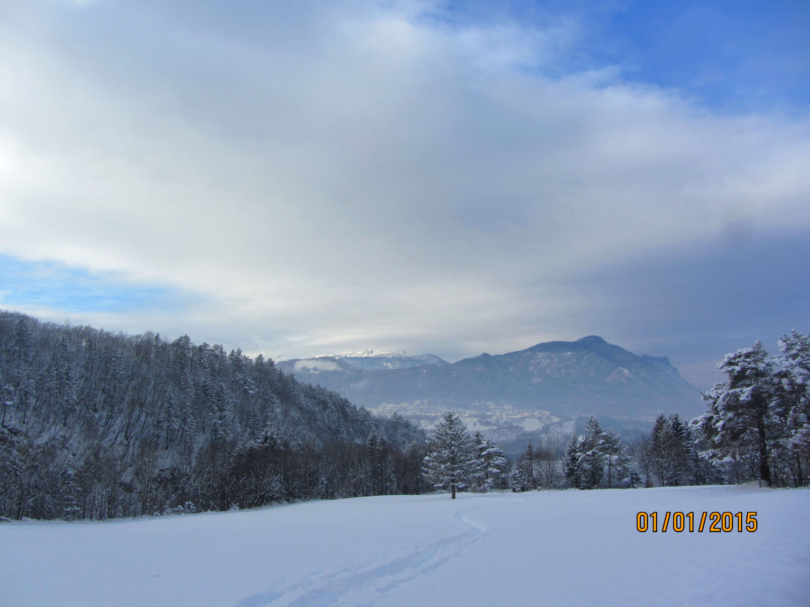 Snow covered landscape of the Gorenjska region of Slovenia