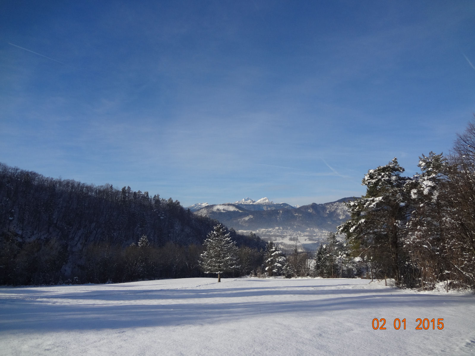Beautiful sunny winter day in Gorenjska, Slovenia