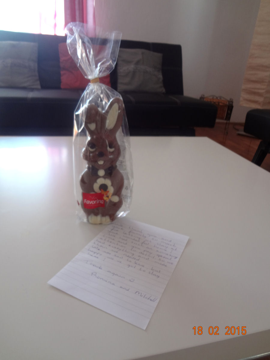 The most adorable chocolate bunny and a handwritten thank you note