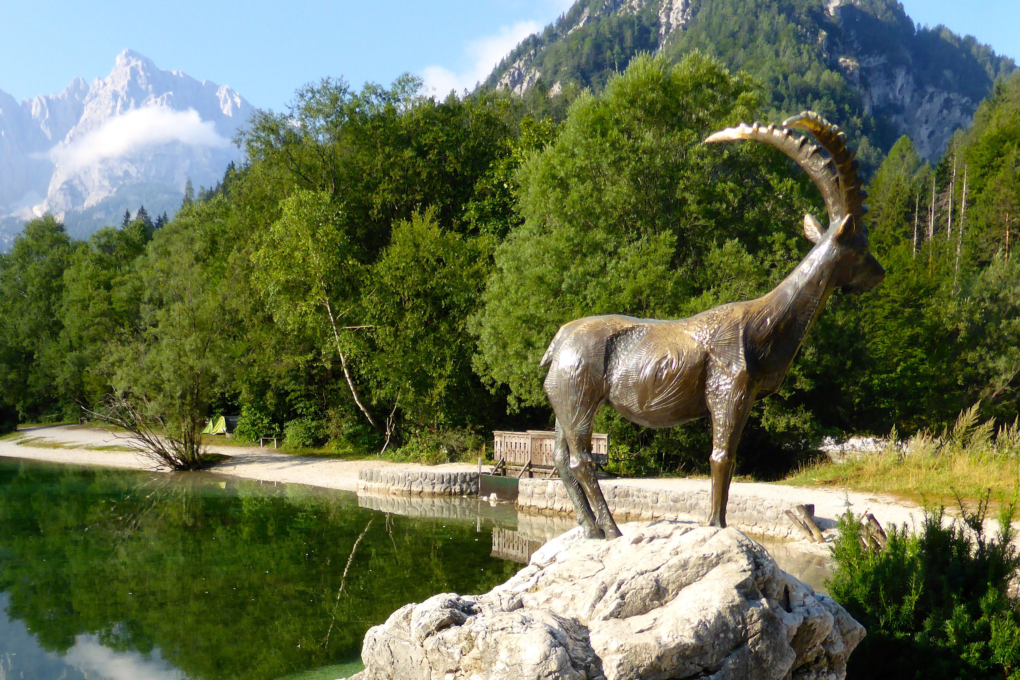 The statue of Goldhorn at the Lake Jasna, Kranjska Gora, Slovenia