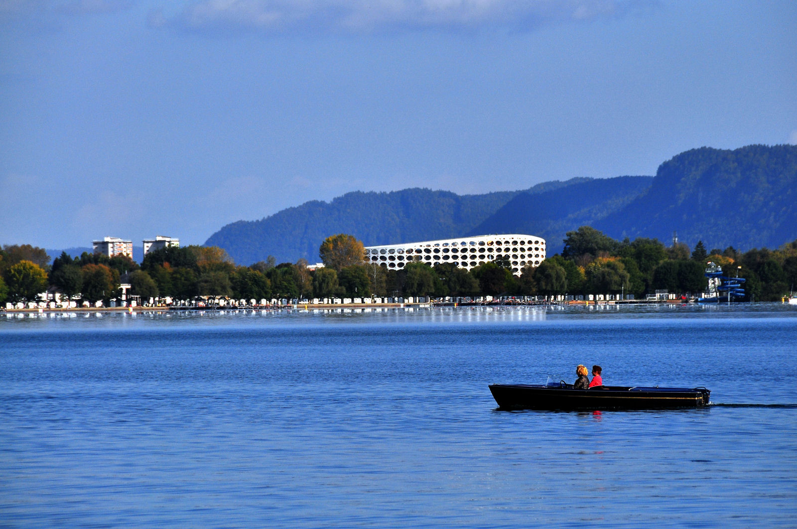 View at the beach and the new Lakepark Hotel in Klagenfurt, Carinthia, Austria