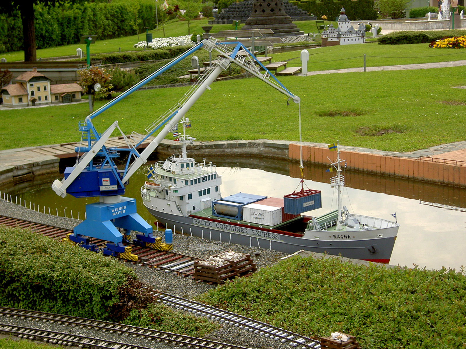 Model of the Container ship Ragna at Minimundus, Klagenfurt, Austria