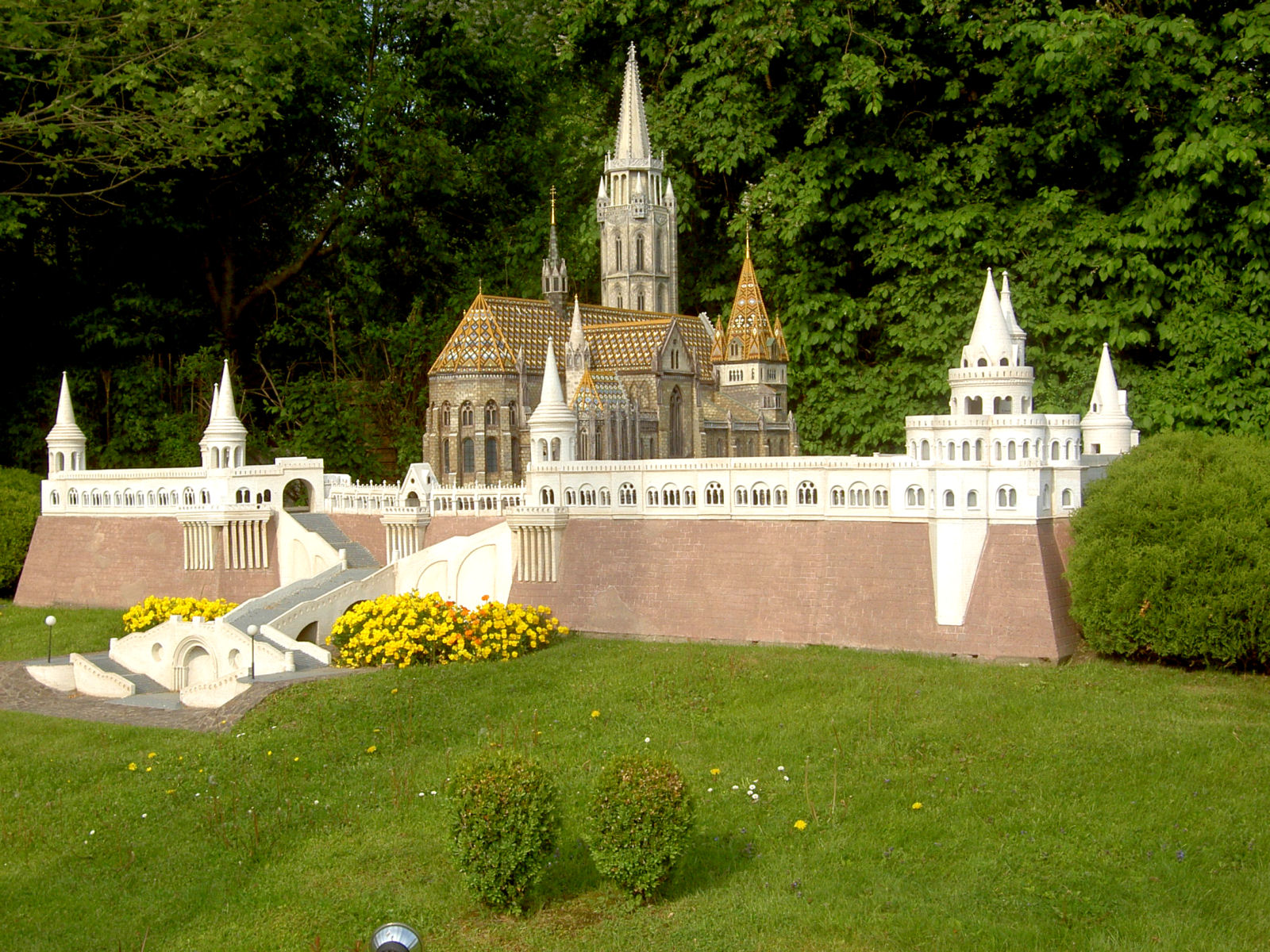 Model of the Budapest's Fisherman's Bastion at Minimundus, Klagenfurt, Austria