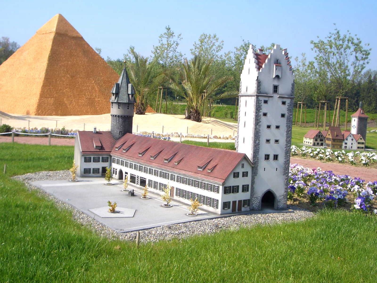 Model of the Ravensburg's Frauentor, Bauhütte and green tower at Minimundus, Klagenfurt, Austria