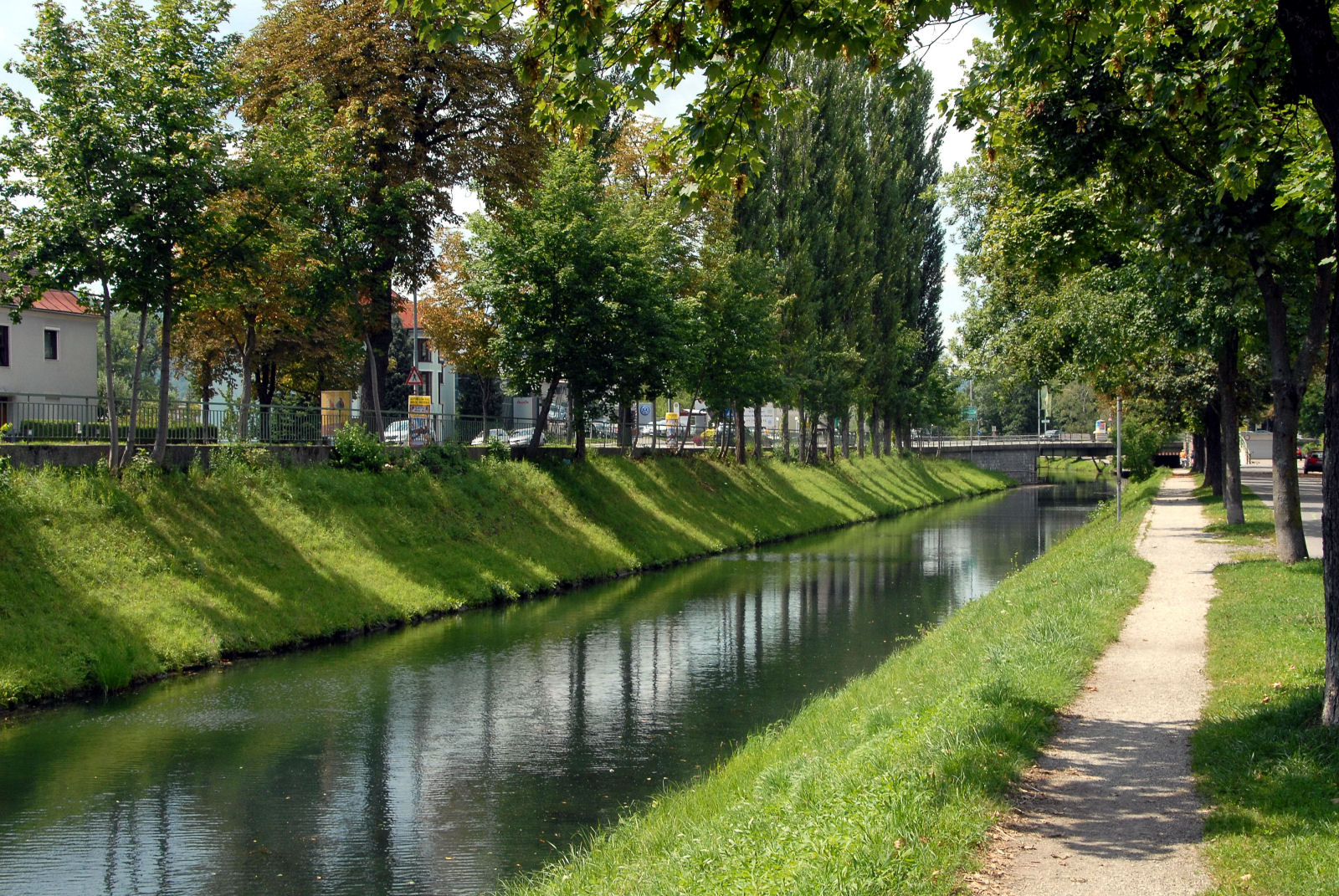 Lendkanal, the artificial outflow from the Lake Woerth in Klagenfurt, Carinthia, Austria