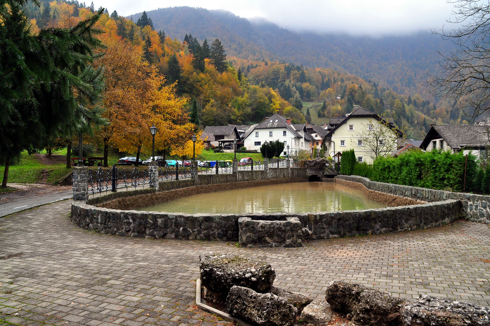 Reservoir and remains of the Lower Ironworks from the 16th century in the village of Kropa, Slovenia