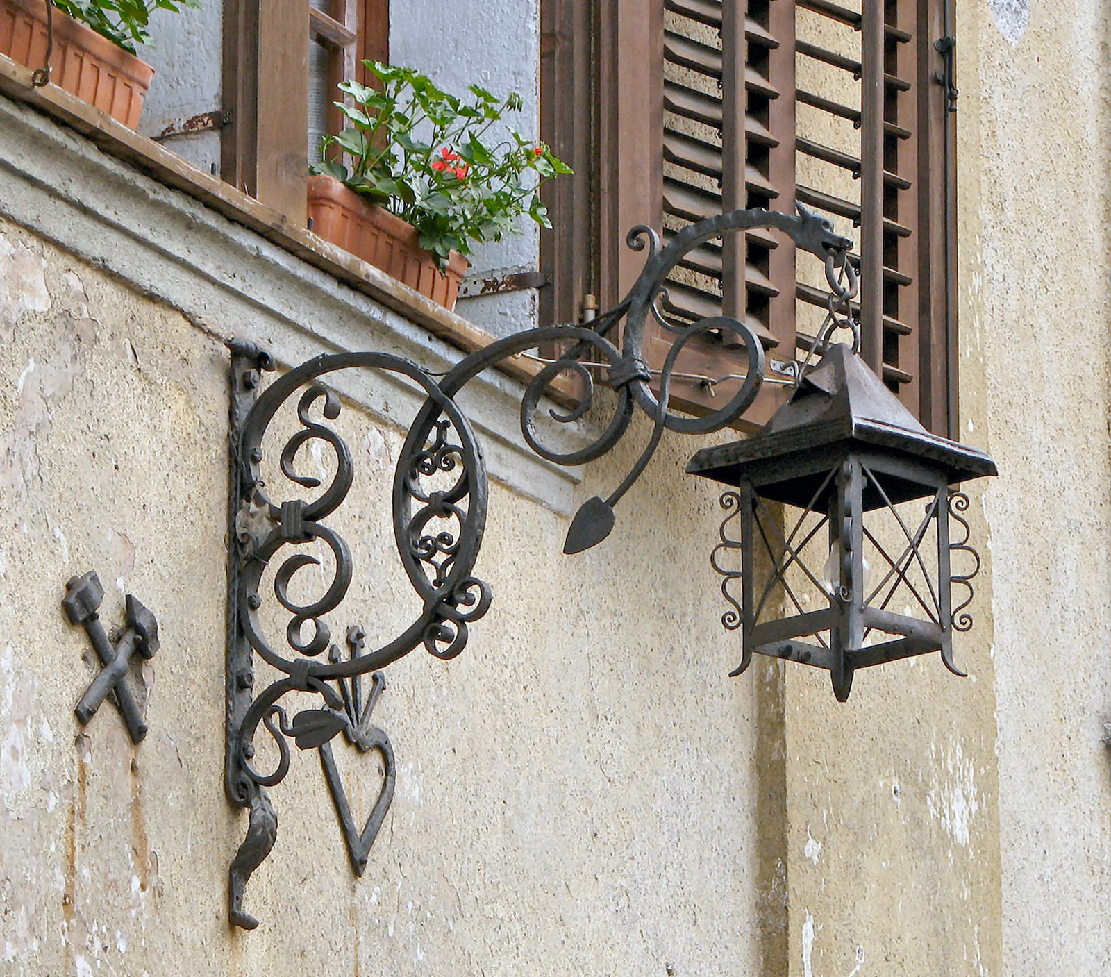 Hand forged street lamp in the village of Kropa, Slovenia
