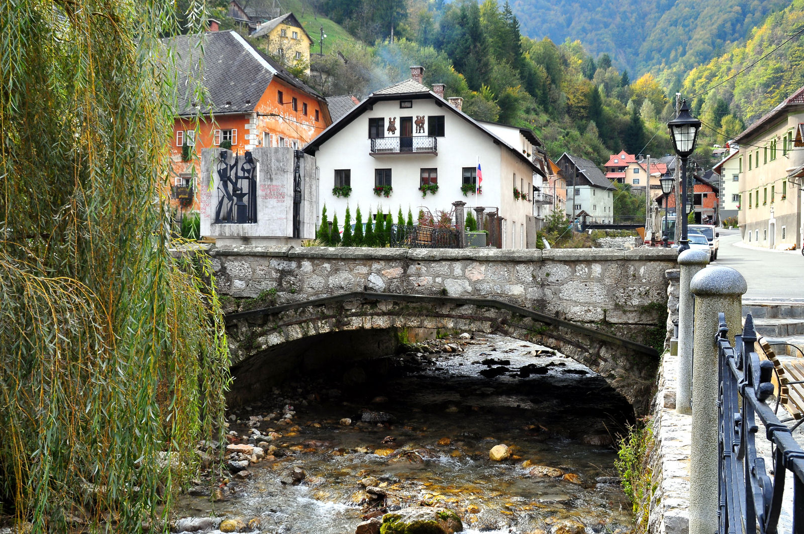 Bridge across the Kroparica river in the center of Kropa