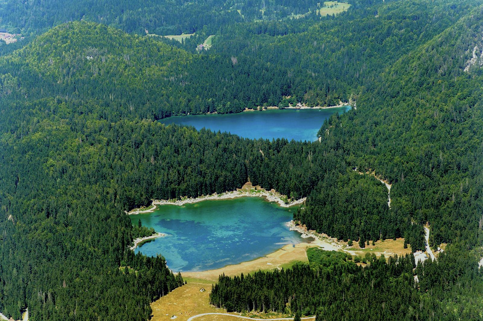 Laghi di Fusine Lakes are two glacial lakes, the Lago lnferiore and Lago Superiore