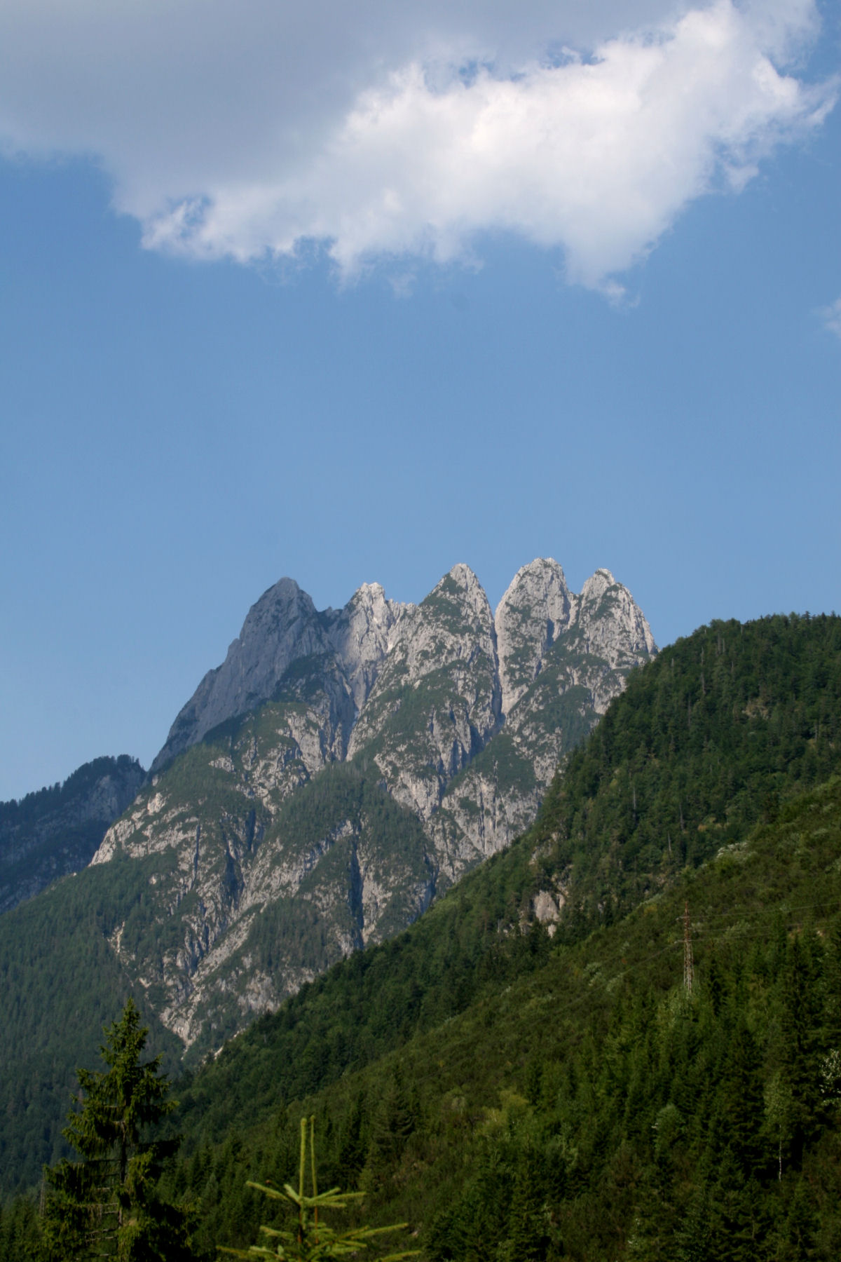 View of the Cinque Punte mountain from the Predil lake