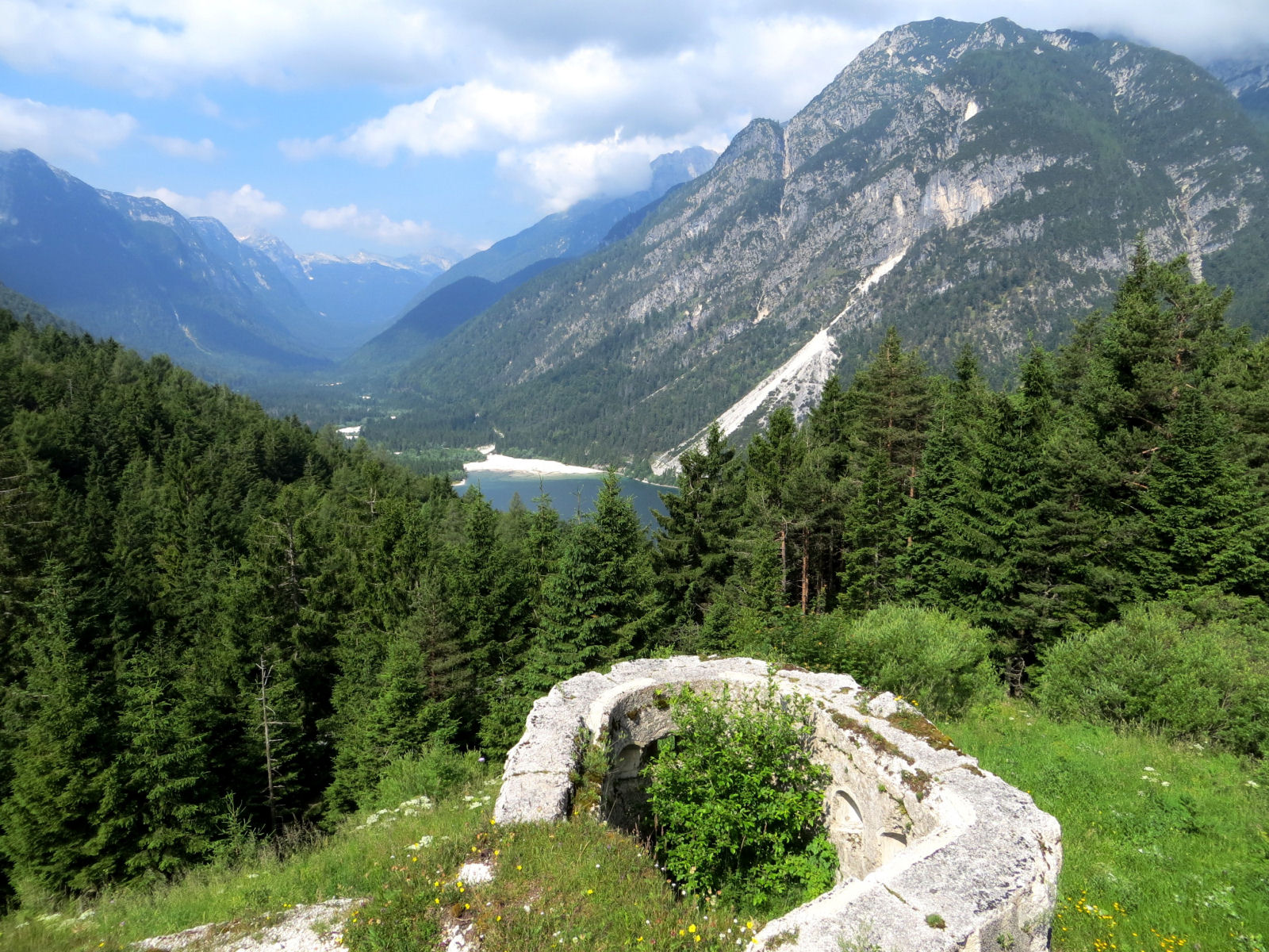 View of the Predil lake from the Predil mountain pass