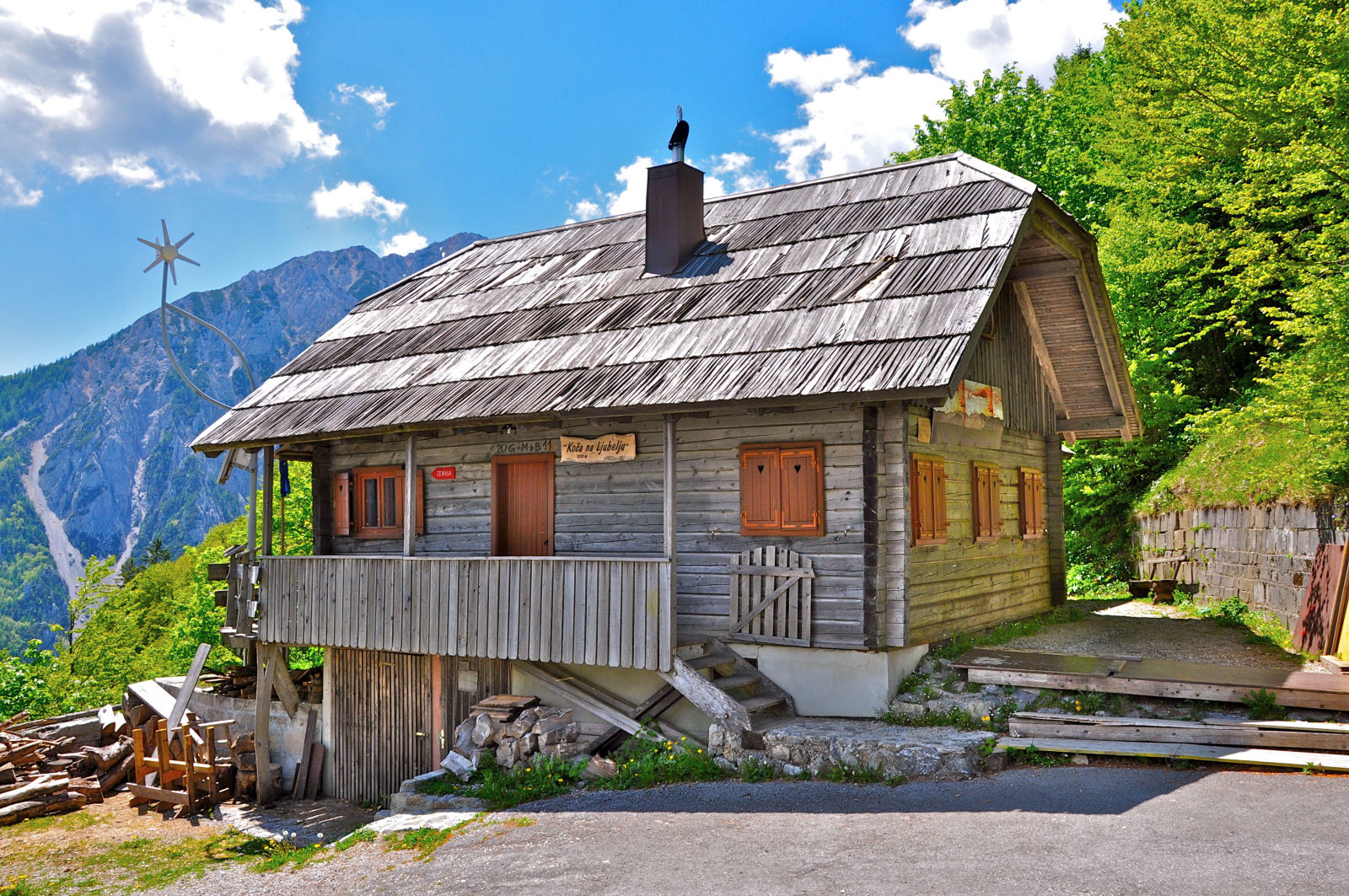 Slovenian alpine hut on the Old Loibl mountain pass